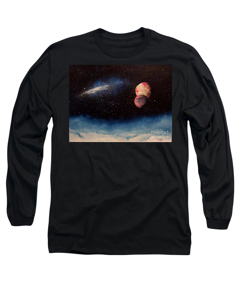 Landscape Long Sleeve T-Shirt featuring the painting Above Alien Clouds by Murphy Elliott
