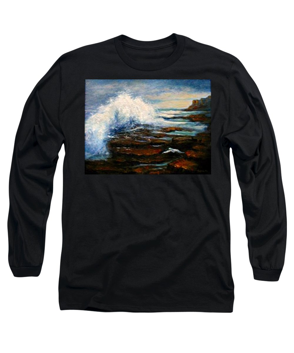 Seascape Long Sleeve T-Shirt featuring the painting After The Storm by Gail Kirtz