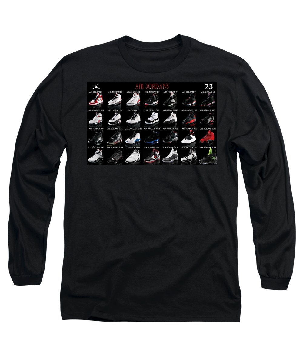 6544b663d6cc49 Michael Jordan Long Sleeve T-Shirt featuring the digital art Air Jordan  Shoe Gallery by