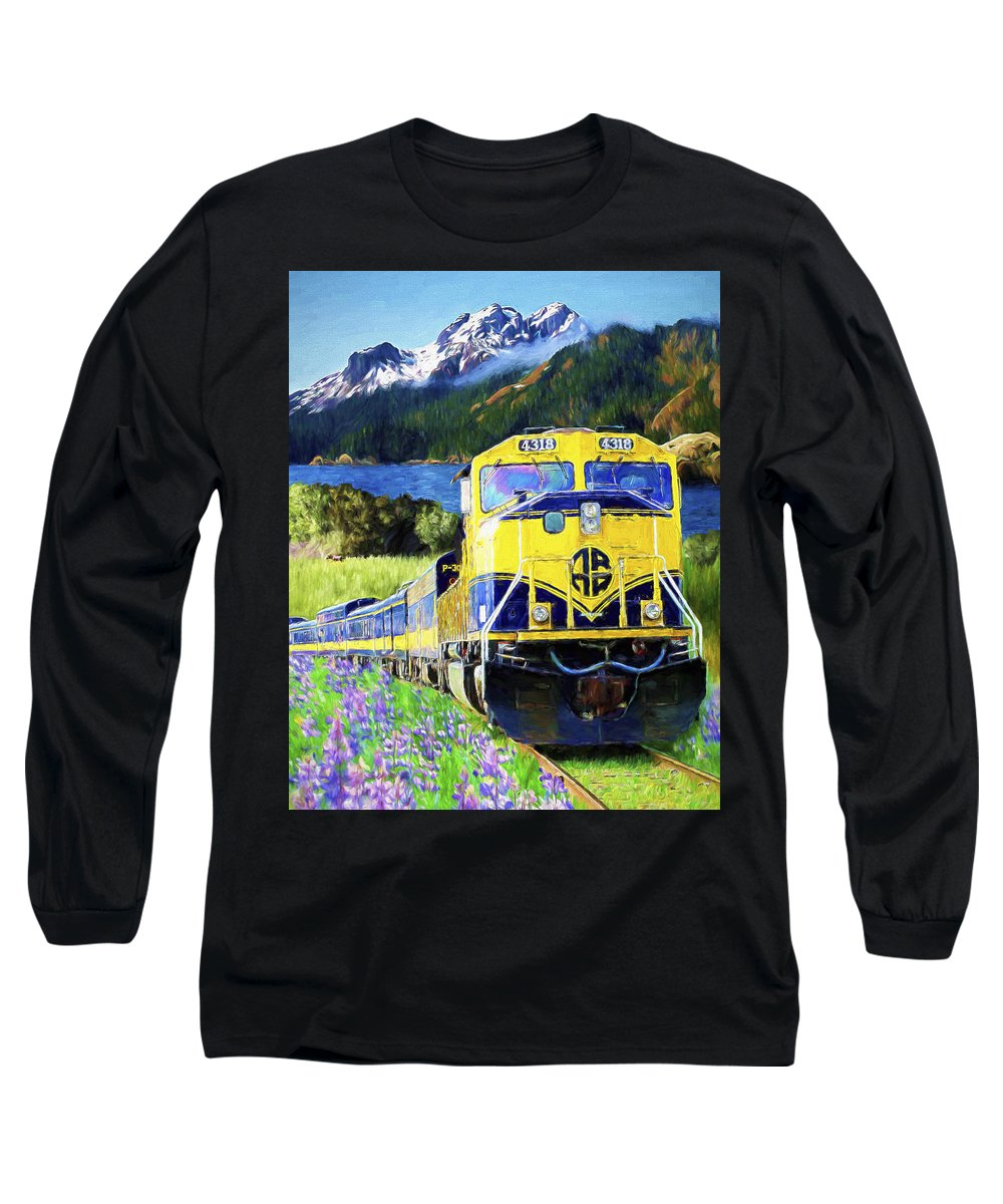 Railroad Long Sleeve T-Shirt featuring the painting Alaska Railroad by David Wagner