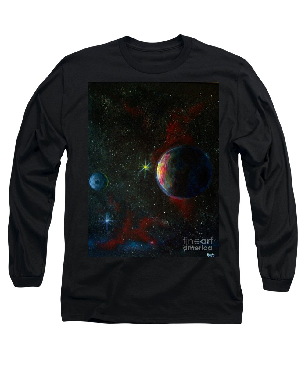 Cosmos Long Sleeve T-Shirt featuring the painting Alien Worlds by Murphy Elliott