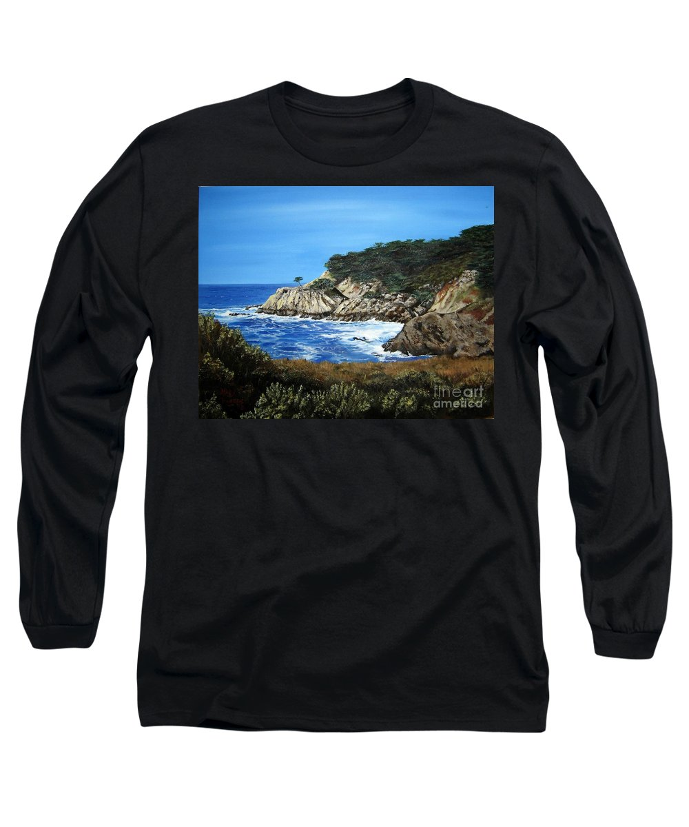 Landscape Long Sleeve T-Shirt featuring the painting Along The California Coast by Mary Rogers