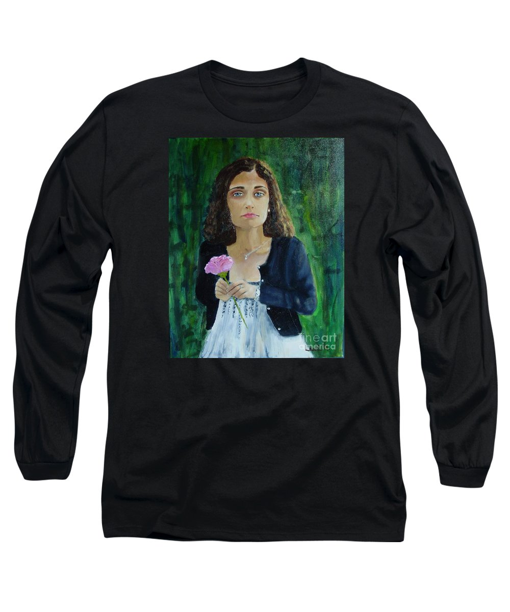 Portrait Long Sleeve T-Shirt featuring the painting Aly by Laurie Morgan