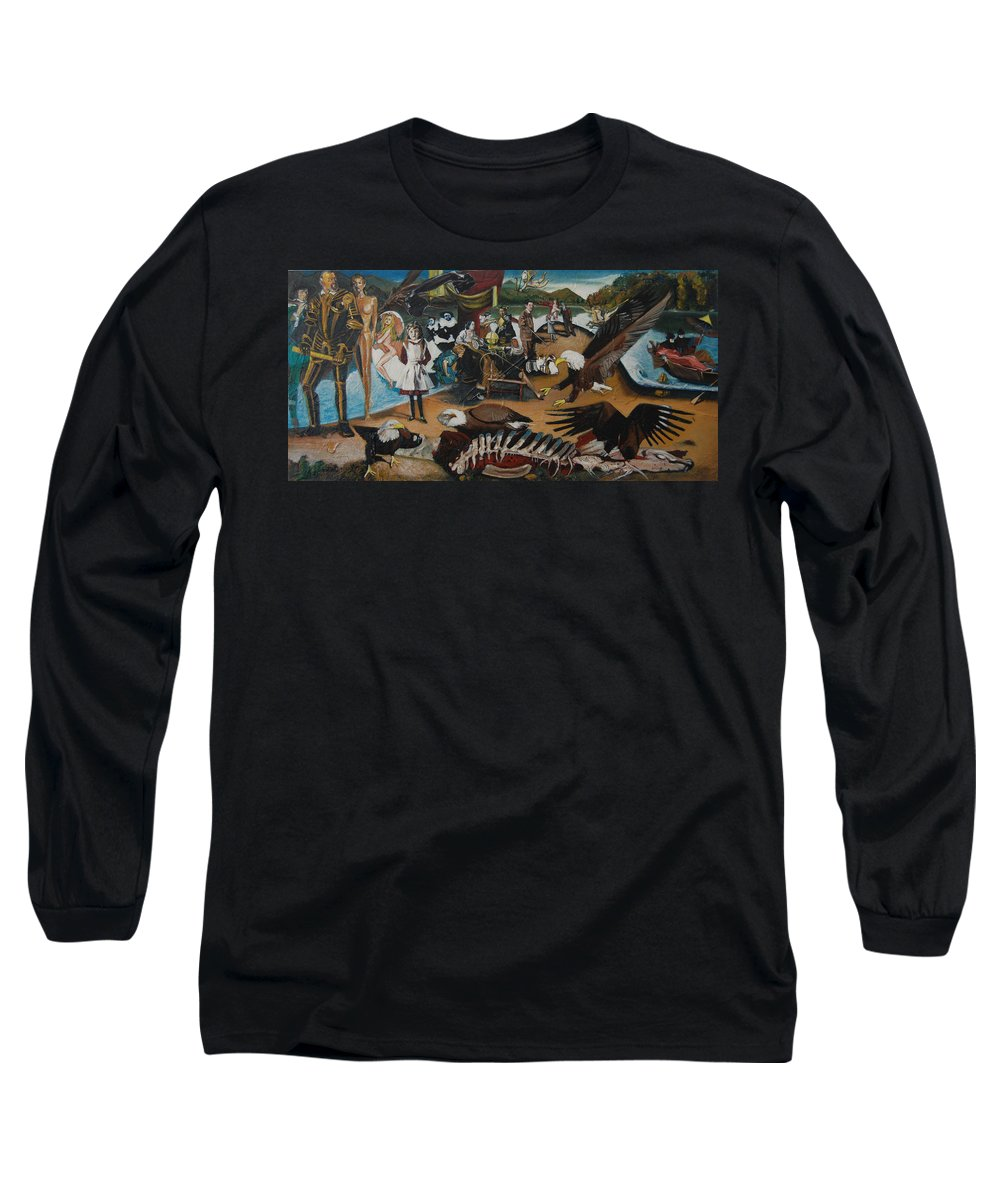 Unfinished Long Sleeve T-Shirt featuring the painting America The Beautiful by Jude Darrien