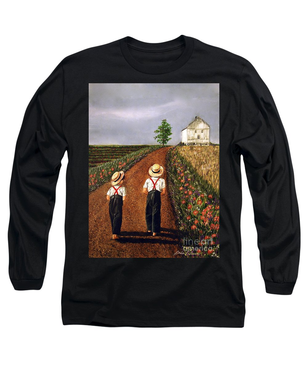 Lifestyle Long Sleeve T-Shirt featuring the painting Amish Road by Linda Simon