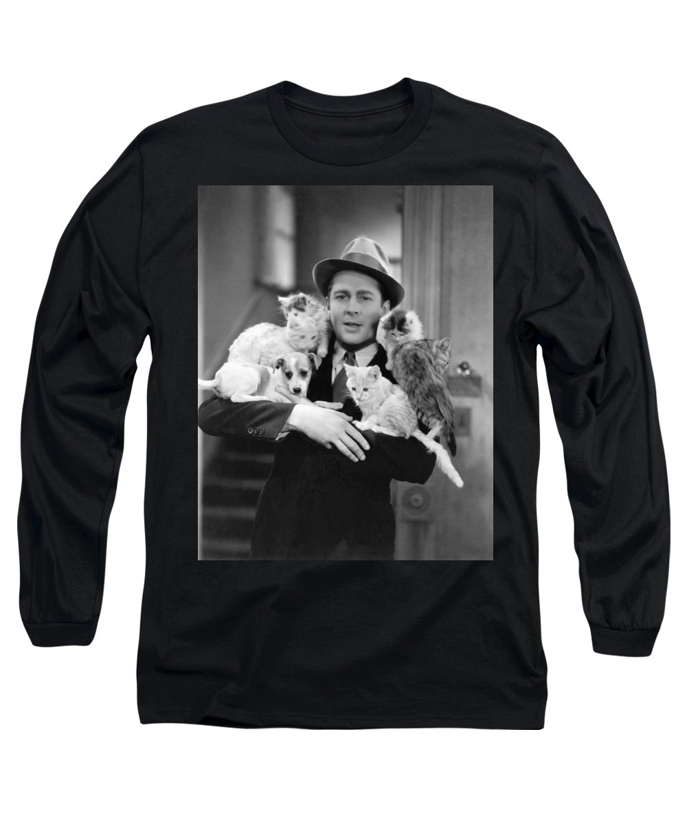 1035-611 Long Sleeve T-Shirt featuring the photograph Armful Of Cats And Dogs by Underwood Archives