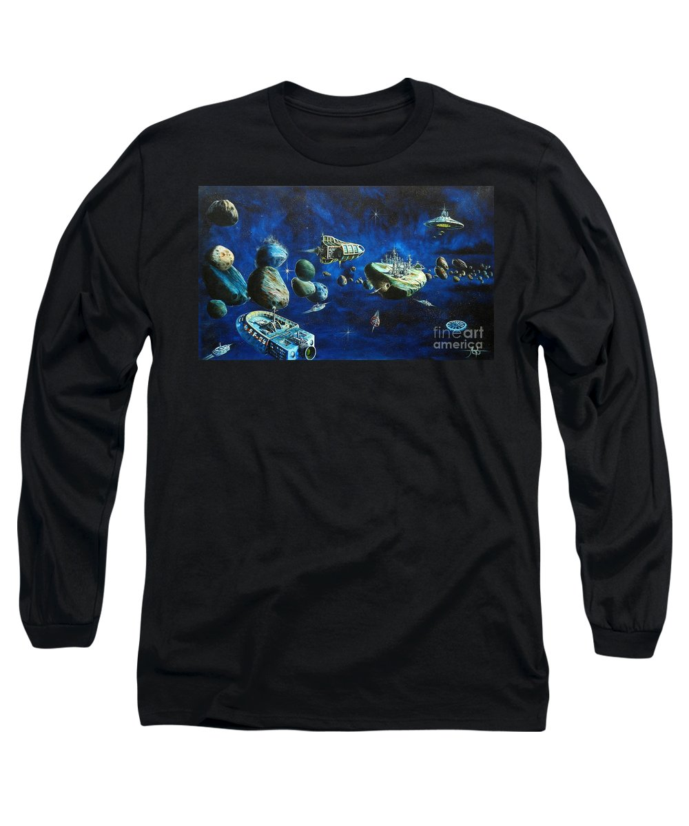 Fantasy Long Sleeve T-Shirt featuring the painting Asteroid City by Murphy Elliott