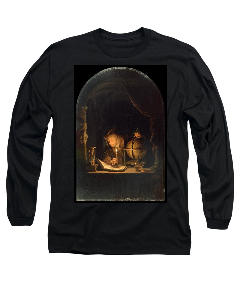Gerrit Dou Long Sleeve T-Shirt featuring the painting Astronomer By Candlelight by Gerrit Dou
