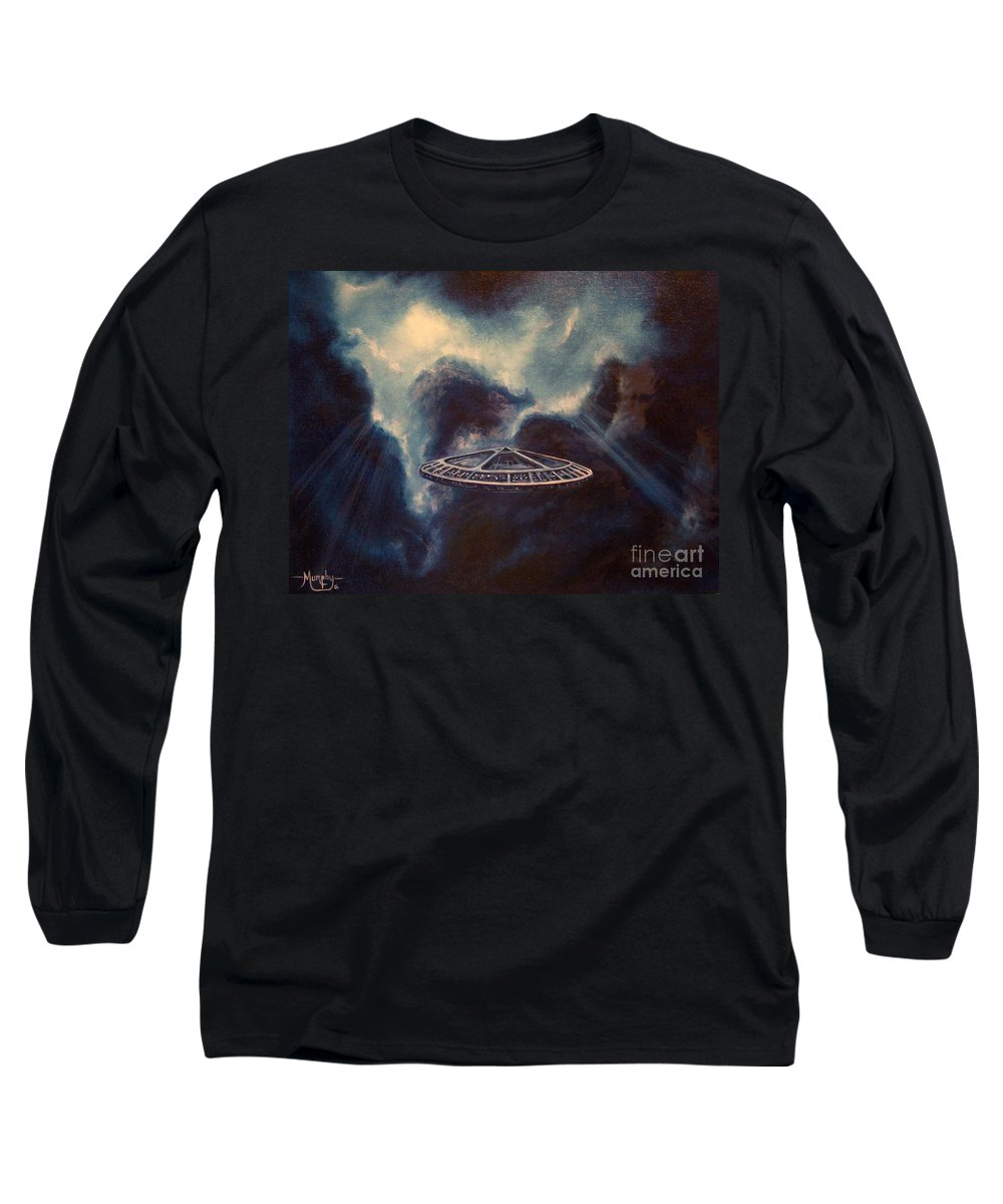 Si-fi Long Sleeve T-Shirt featuring the painting Atmospheric Arrival by Murphy Elliott