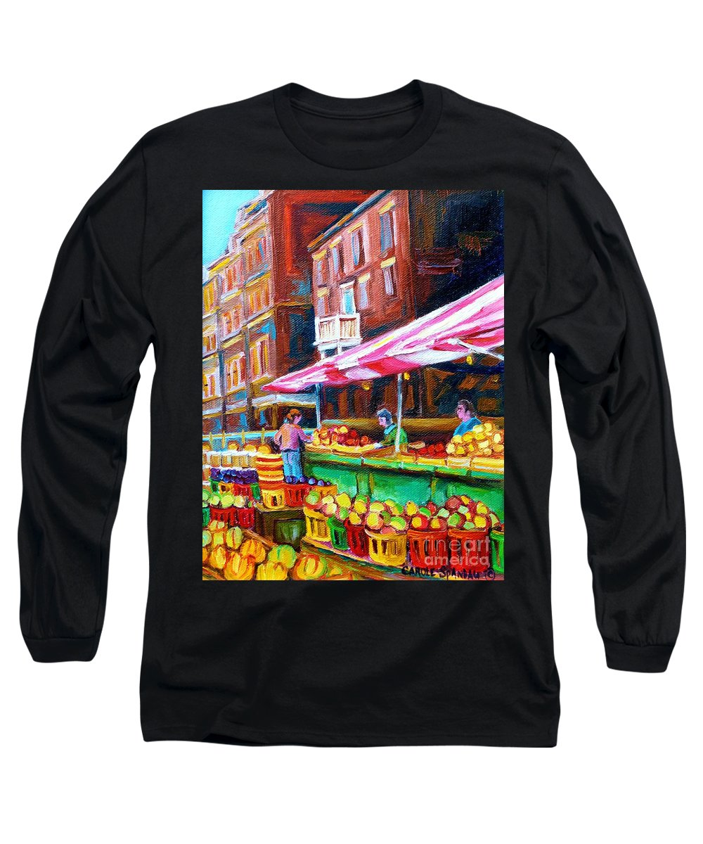 Atwater Market Long Sleeve T-Shirt featuring the painting Atwater Market  by Carole Spandau