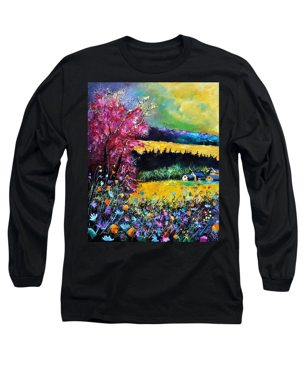 Landscape Long Sleeve T-Shirt featuring the painting Autumn Flowers by Pol Ledent