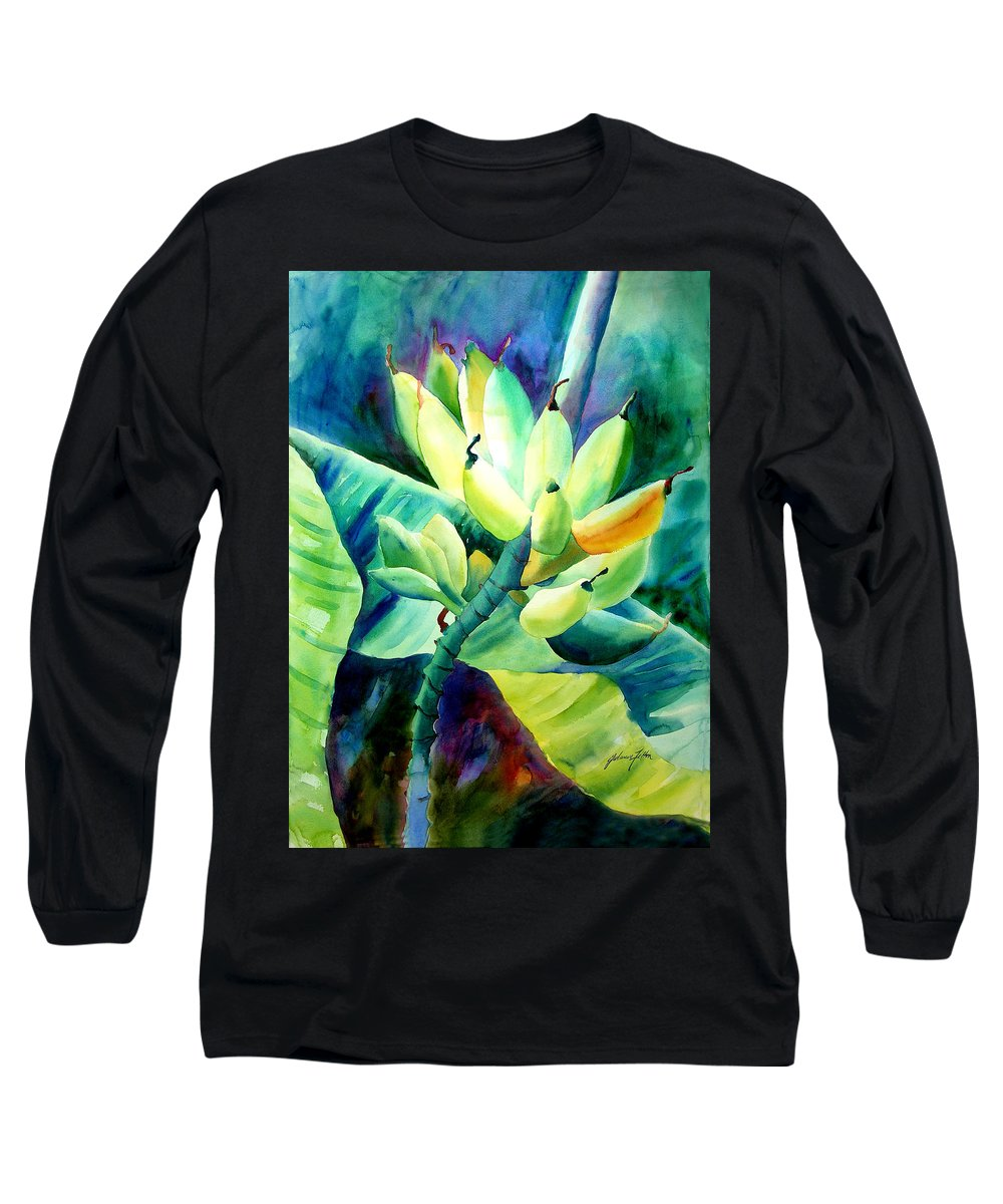 Watercolor Long Sleeve T-Shirt featuring the painting Bananas 6-12-06 Julianne Felton by Julianne Felton