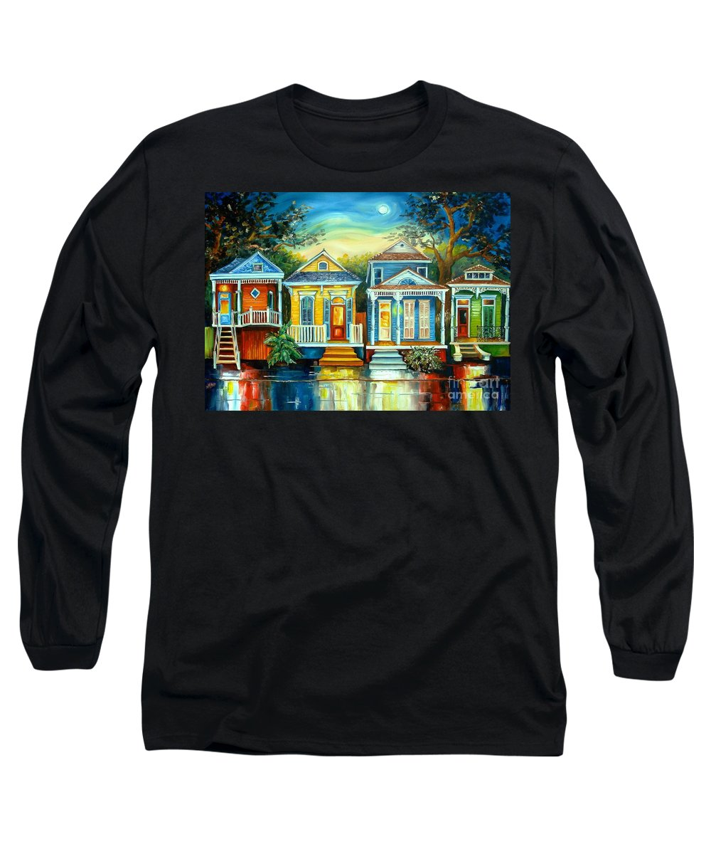 New Orleans Long Sleeve T-Shirt featuring the painting Big Easy Moon by Diane Millsap