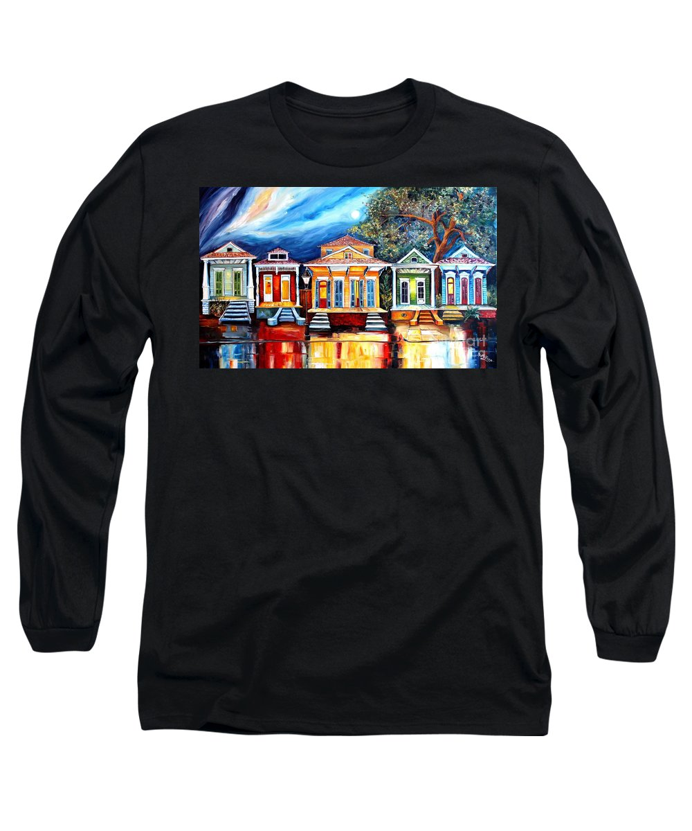 New Orleans Long Sleeve T-Shirt featuring the painting Big Easy Shotguns by Diane Millsap