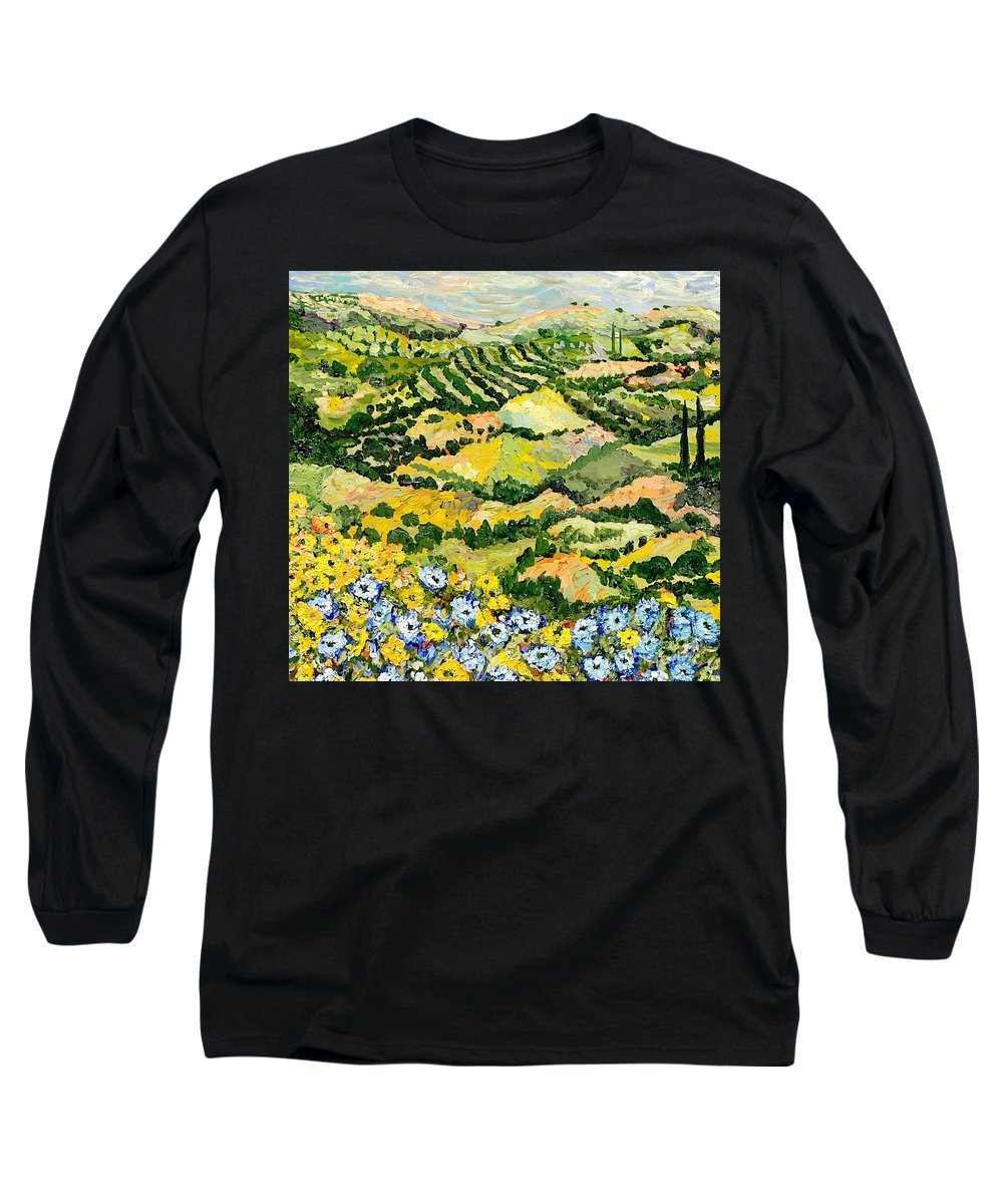 Landscape Long Sleeve T-Shirt featuring the painting Blue And Yellow by Allan P Friedlander