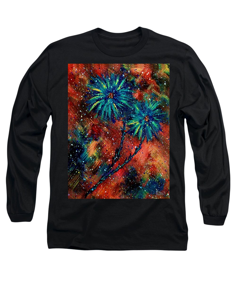 Flowers Long Sleeve T-Shirt featuring the painting Blue Asters by Robin Monroe