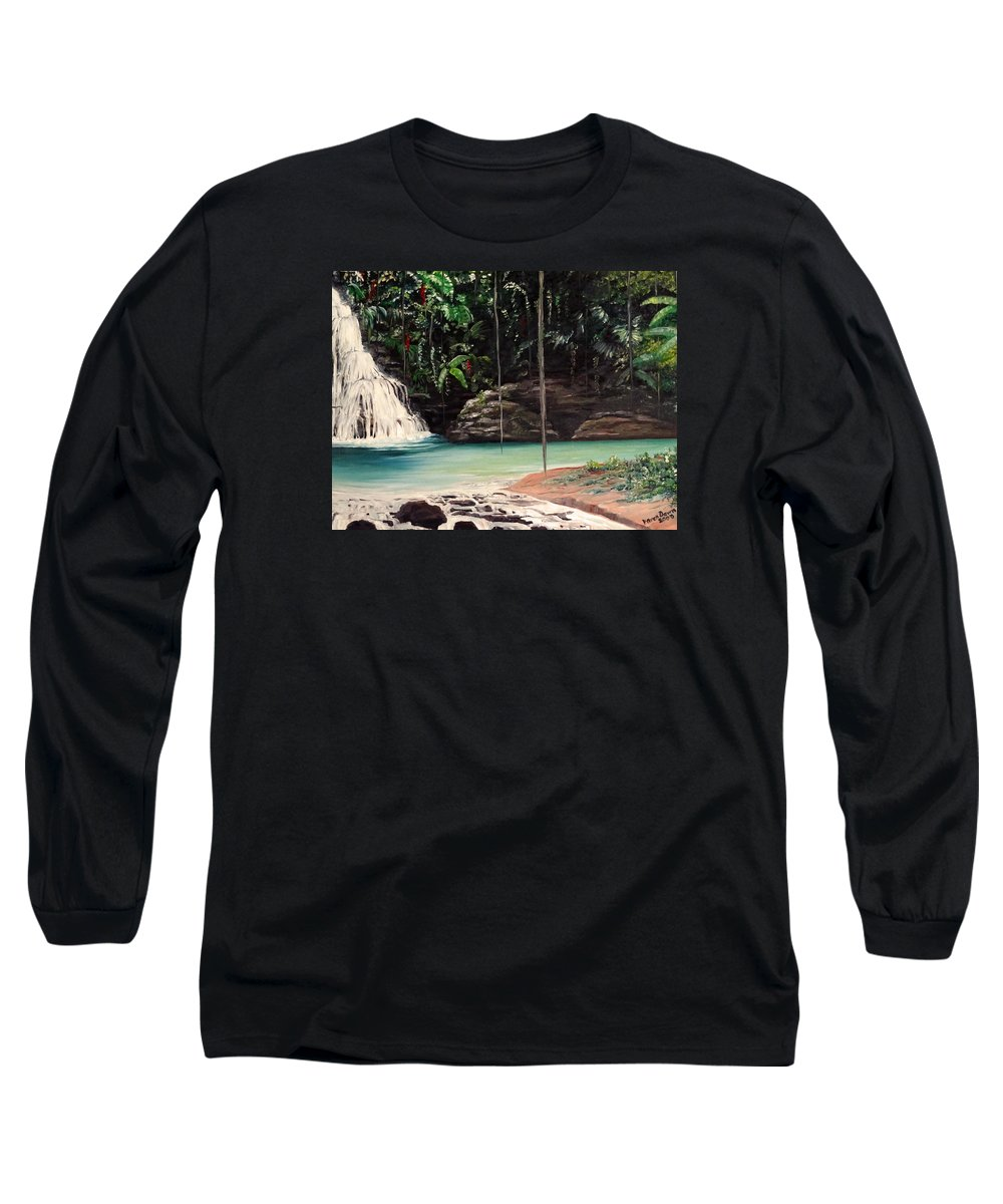 Tropical Waterfall Long Sleeve T-Shirt featuring the painting Blue Basin by Karin Dawn Kelshall- Best