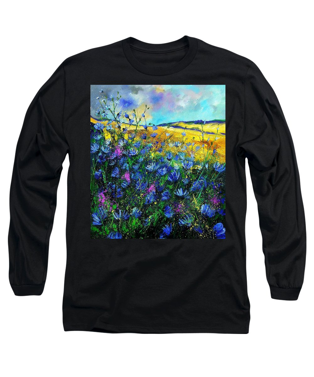 Flowers Long Sleeve T-Shirt featuring the painting Blue Wild Chicorees by Pol Ledent