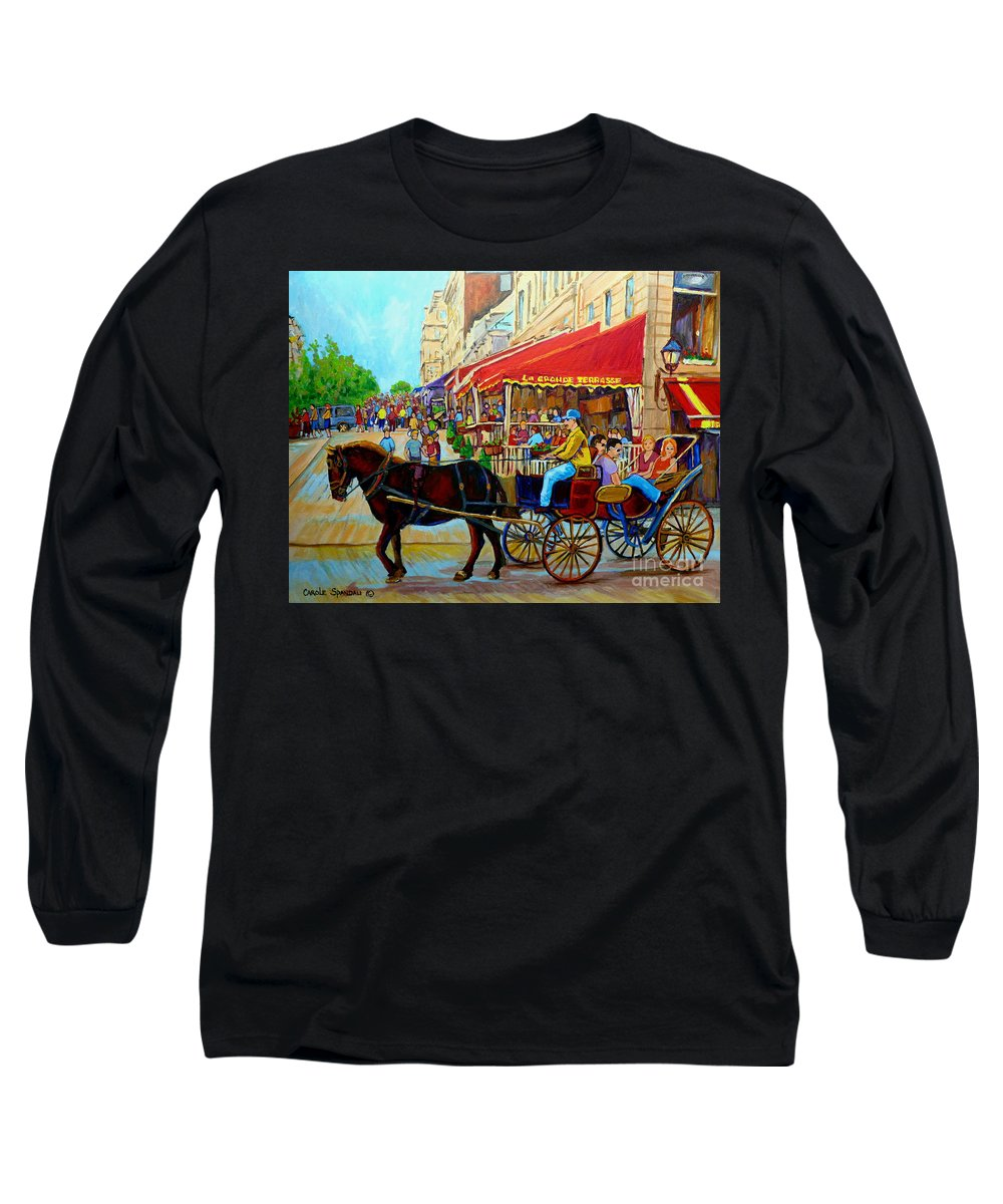 Cafe La Grande Terrasse Long Sleeve T-Shirt featuring the painting Cafe La Grande Terrasse by Carole Spandau