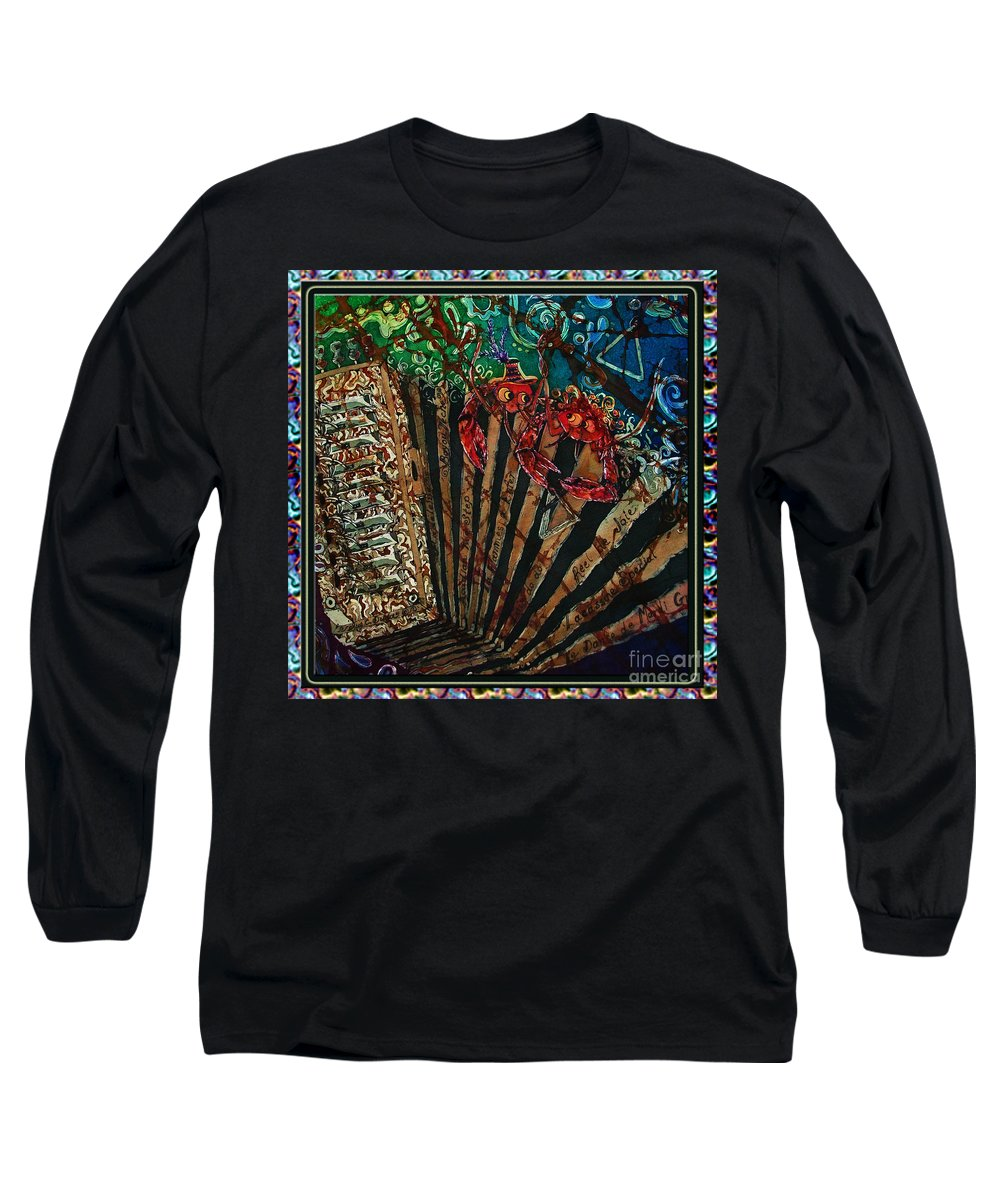 Acadian Long Sleeve T-Shirt featuring the painting Cajun Accordian - Bordered by Sue Duda