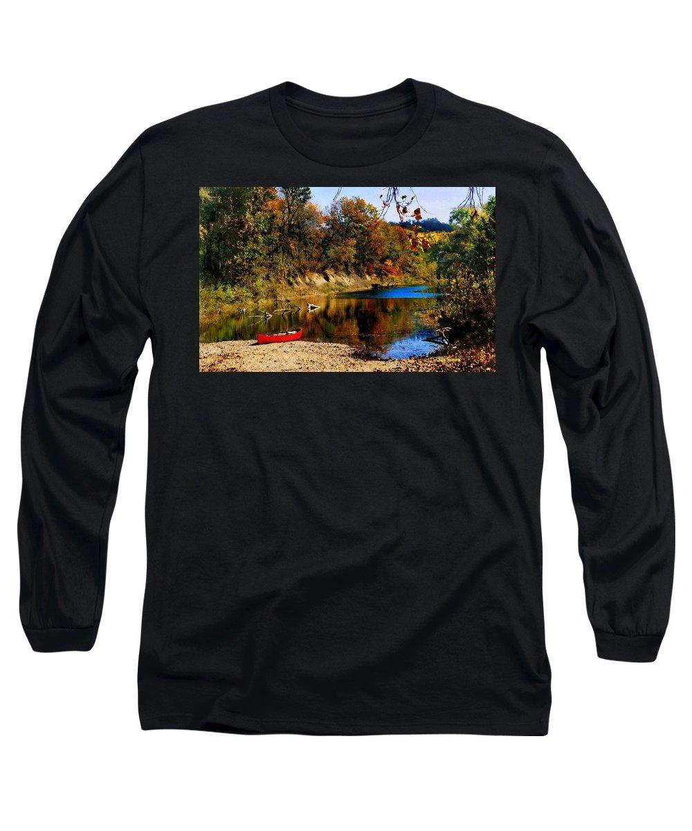 Autumn Long Sleeve T-Shirt featuring the photograph Canoe On The Gasconade River by Steve Karol