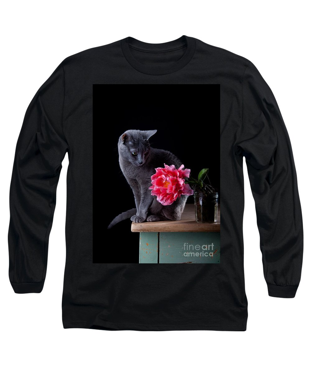 Cat Long Sleeve T-Shirt featuring the photograph Cat And Tulip by Nailia Schwarz