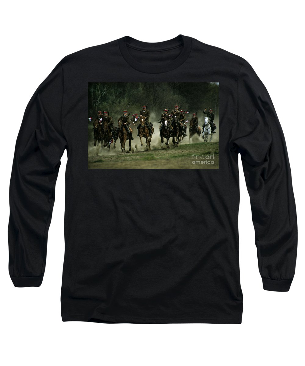 Cavalery Long Sleeve T-Shirt featuring the photograph Charge by Angel Ciesniarska