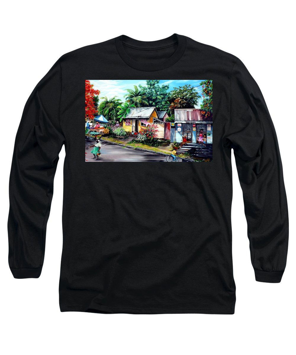 Landscape Painting Caribbean Painting Shop Trinidad Tobago Poinciana Painting Market Caribbean Market Painting Tropical Painting Long Sleeve T-Shirt featuring the painting Chins Parlour   by Karin Dawn Kelshall- Best