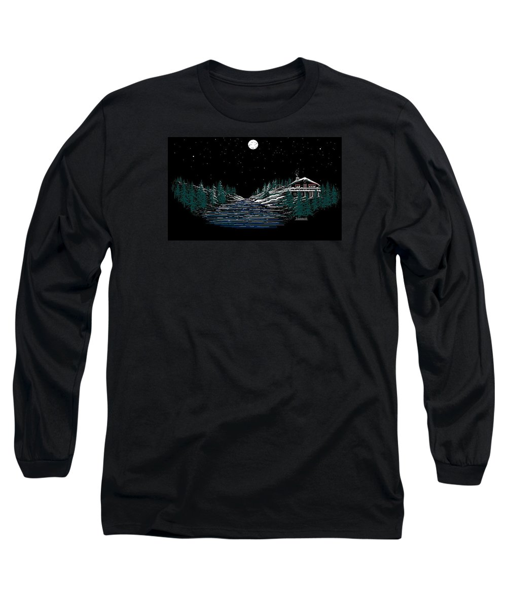 Cold Mountain Winter Long Sleeve T-Shirt featuring the digital art Cold Mountain Winter by Larry Lehman