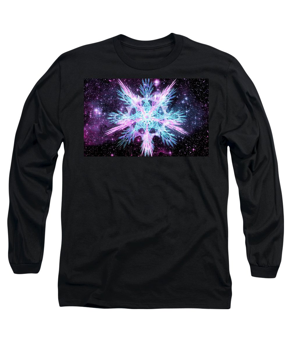 Corporate Long Sleeve T-Shirt featuring the digital art Cosmic Starflower by Shawn Dall