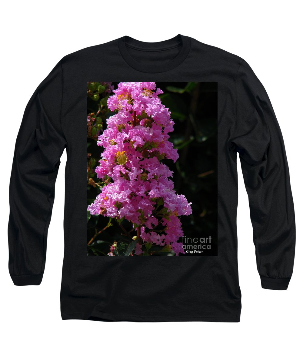 Art For The Wall...patzer Photography Long Sleeve T-Shirt featuring the photograph Crape Myrtle by Greg Patzer