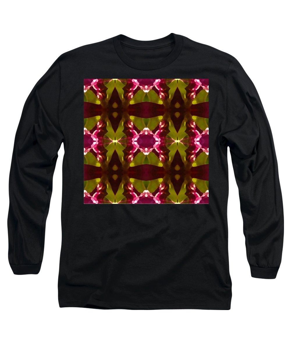 Abstract Long Sleeve T-Shirt featuring the painting Crystal Butterfly Pattern by Amy Vangsgard