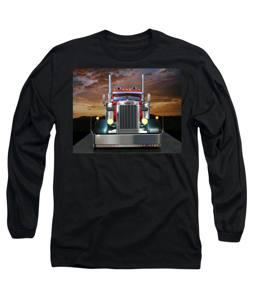 Peterbilt Long Sleeve T-Shirt featuring the digital art Custom Peterbilt by Stuart Swartz