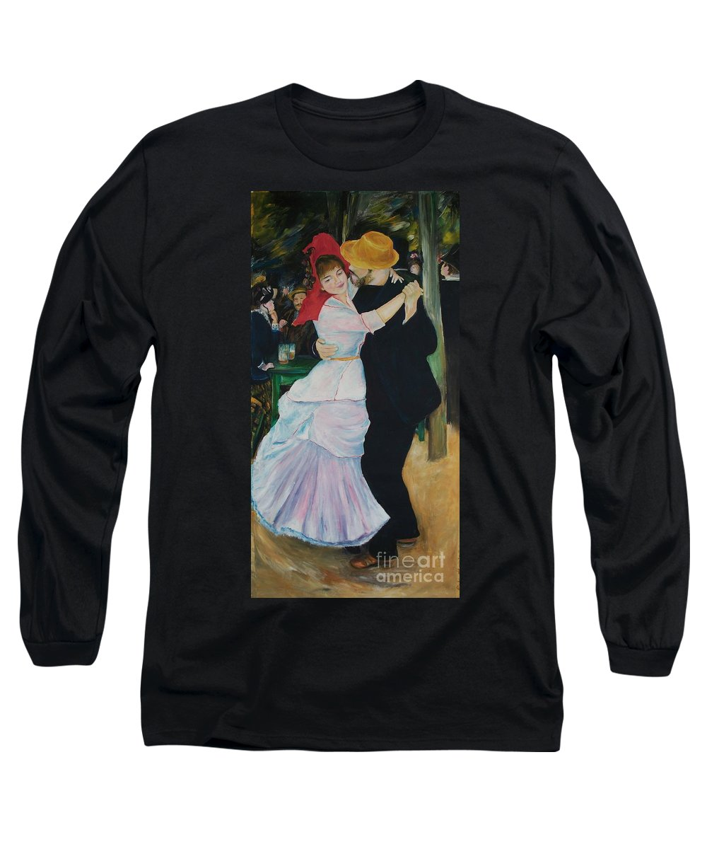Impressionism Long Sleeve T-Shirt featuring the painting Dance At Bougival Renoir by Eric Schiabor