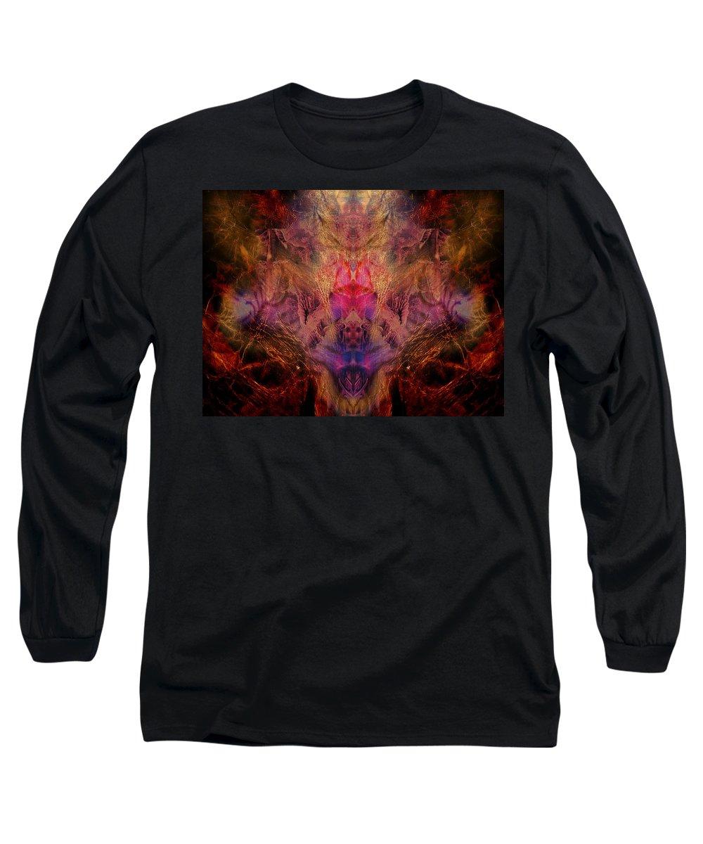 Digital Long Sleeve T-Shirt featuring the digital art Decalcomaniac Mirror by Otto Rapp