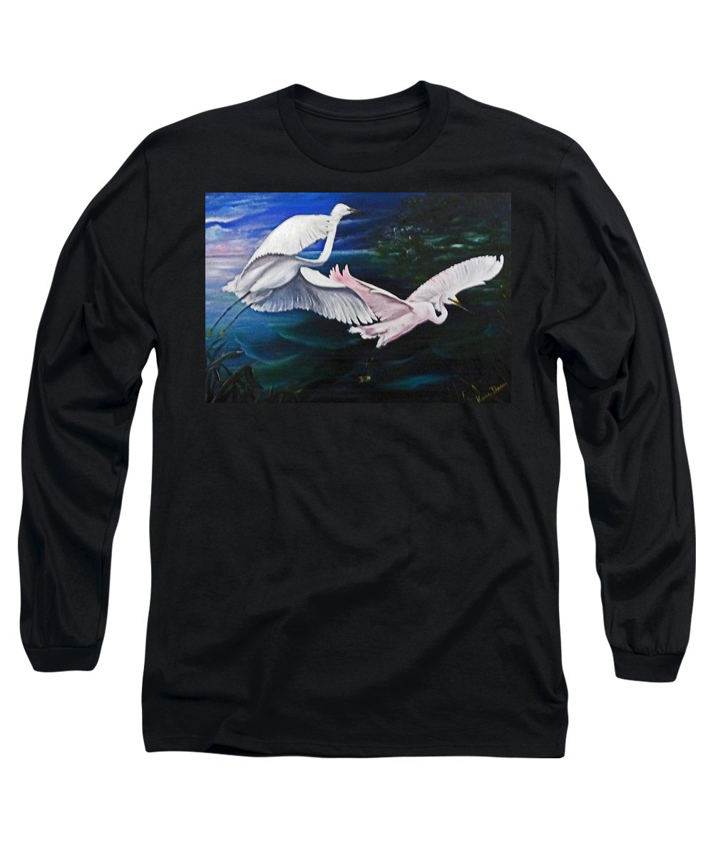 Snowy Egrets Long Sleeve T-Shirt featuring the painting Early Flight by Karin Dawn Kelshall- Best