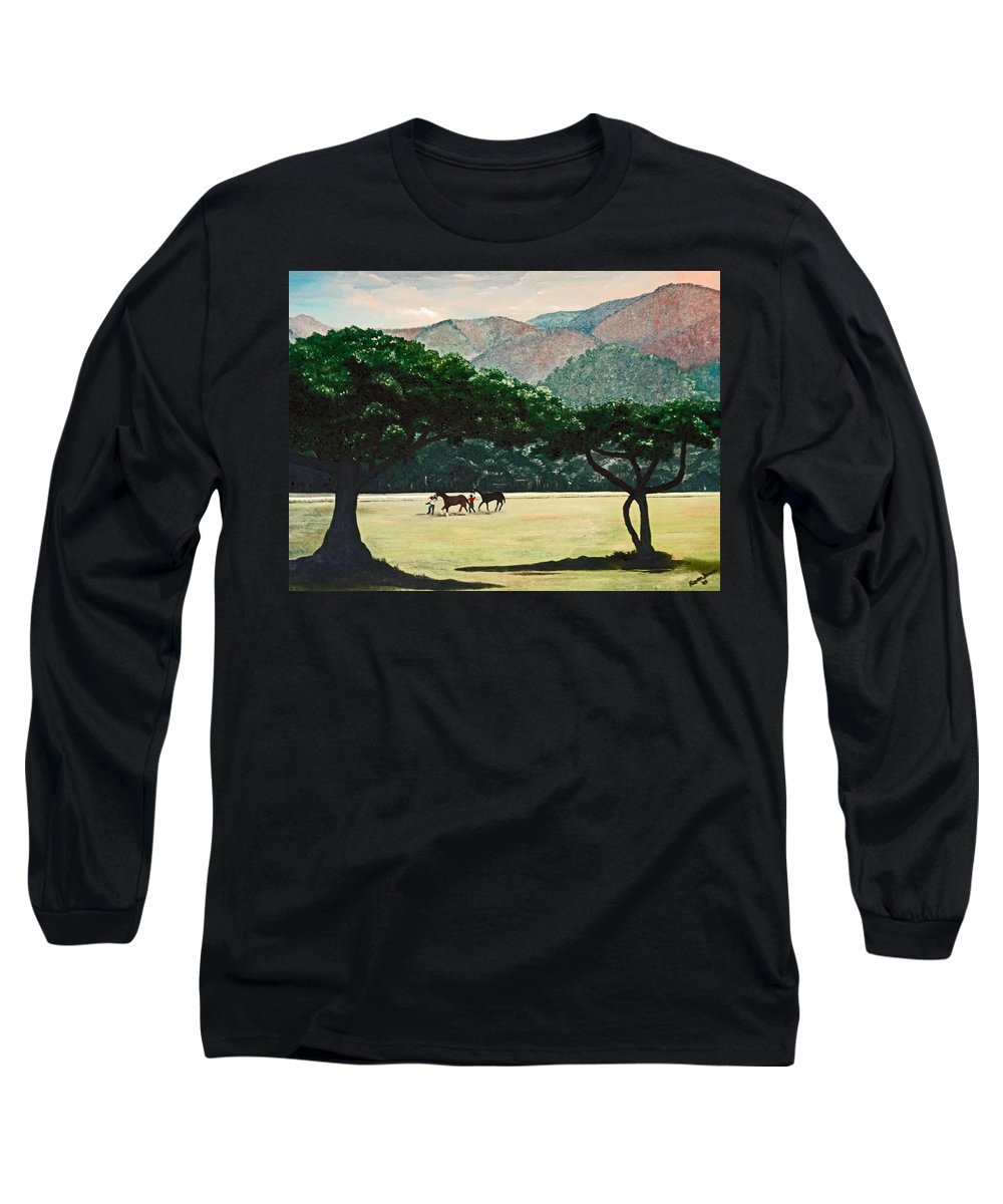 Trees Long Sleeve T-Shirt featuring the painting Early Morning Savannah by Karin Dawn Kelshall- Best