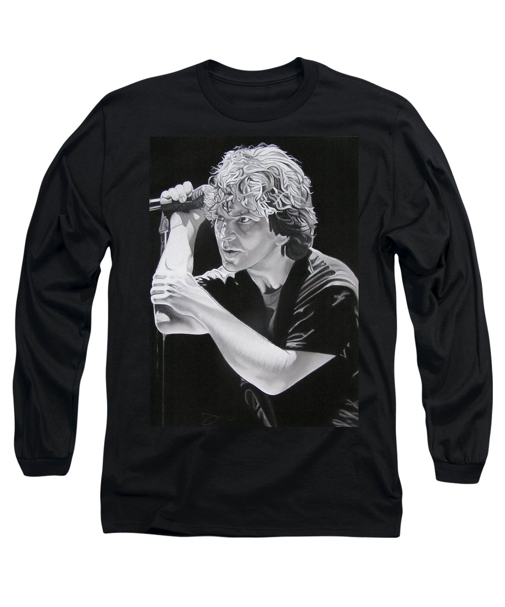 Eddie Vedder Long Sleeve T-Shirt featuring the drawing Eddie Vedder Black And White by Joshua Morton