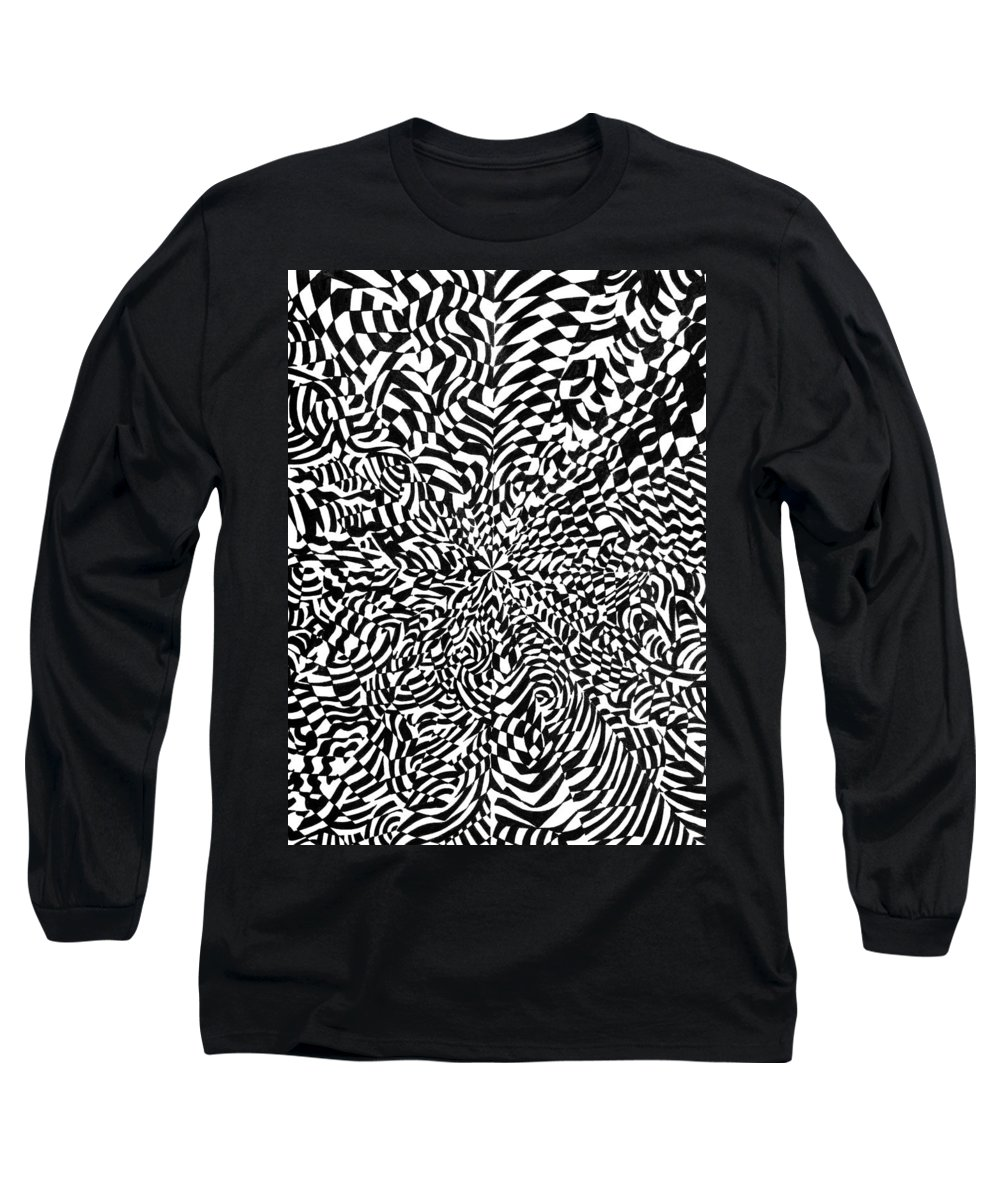 Abstract Long Sleeve T-Shirt featuring the drawing Entangle by Crystal Hubbard