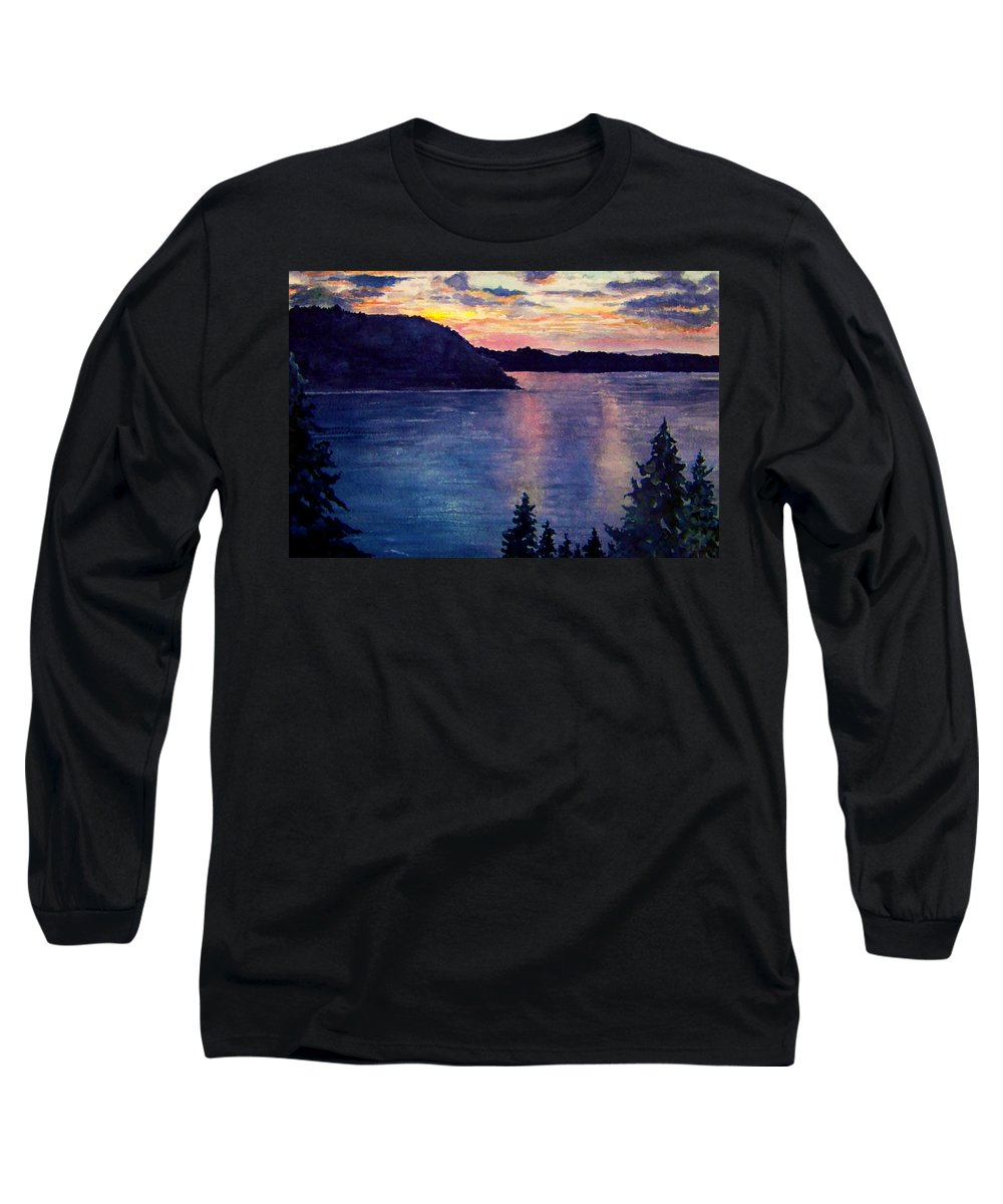 Sunset Long Sleeve T-Shirt featuring the painting Evening Song by Brenda Owen