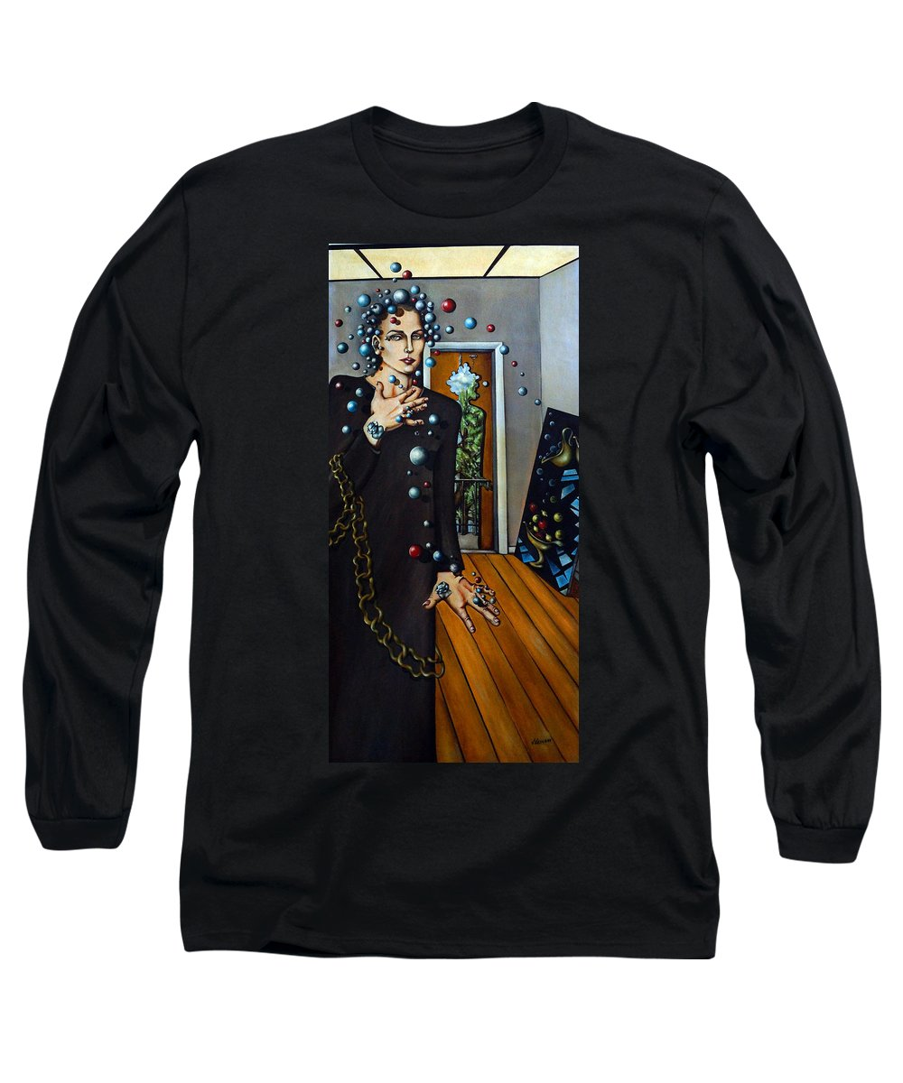 Surreal Long Sleeve T-Shirt featuring the painting Existential Thought by Valerie Vescovi
