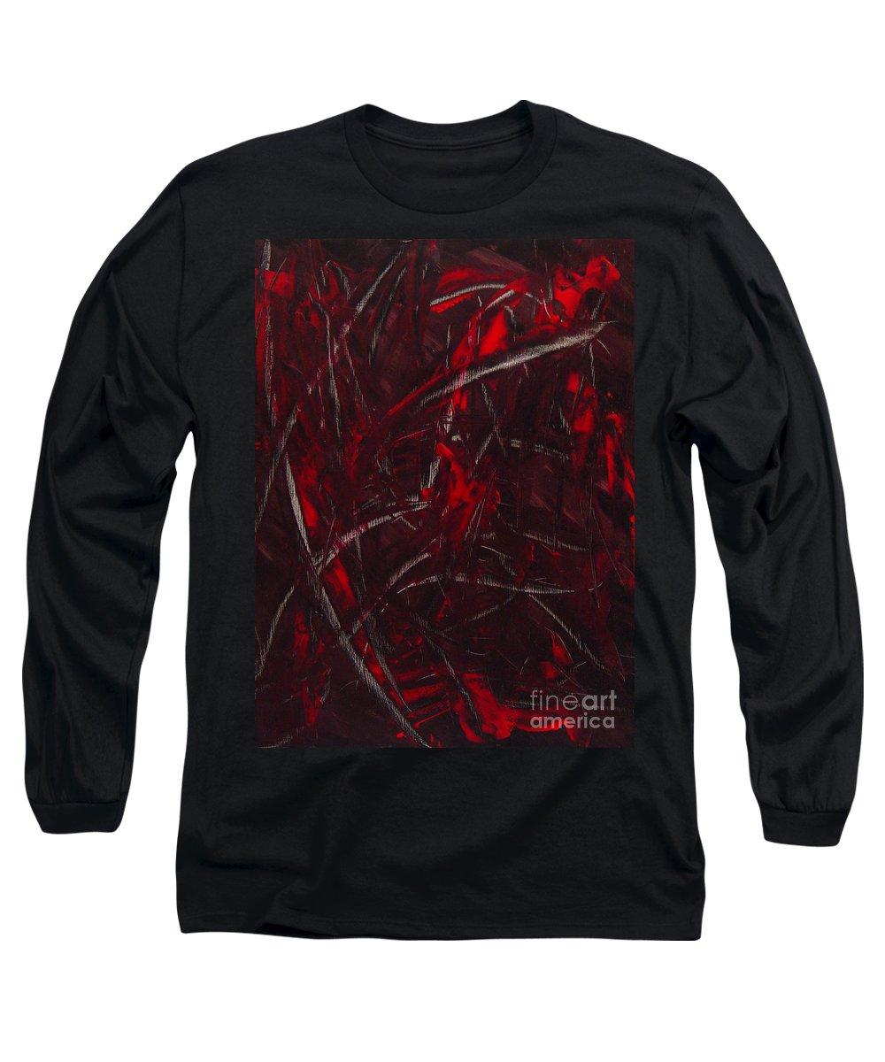 Abstract Long Sleeve T-Shirt featuring the painting Expectations Red by Dean Triolo