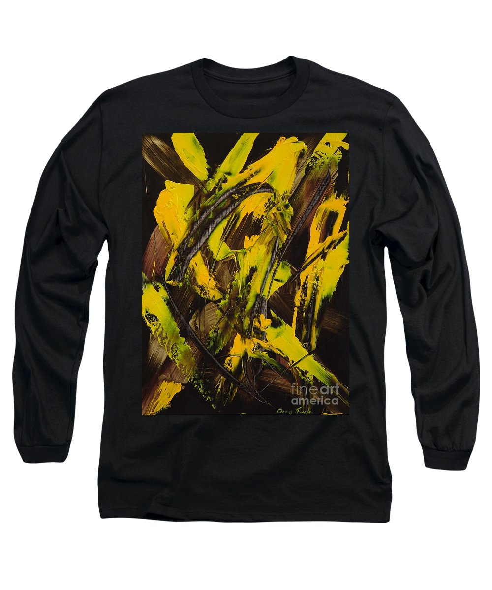 Abstract Long Sleeve T-Shirt featuring the painting Expectations Yellow by Dean Triolo