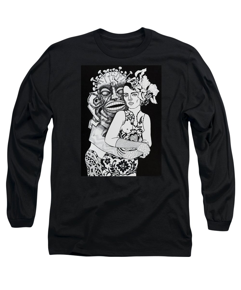 Surreal Long Sleeve T-Shirt featuring the drawing Fetish Girl by Yelena Tylkina