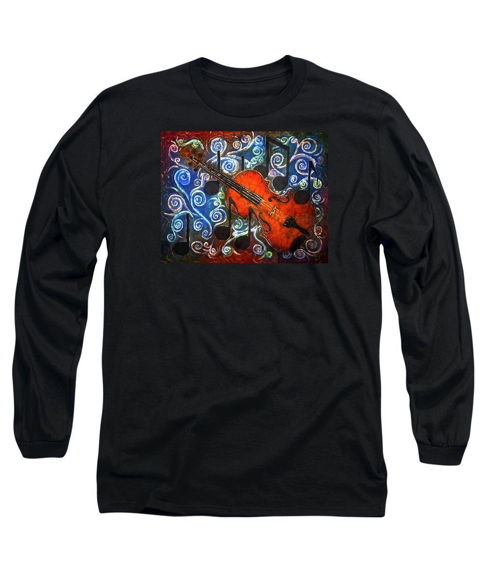Fiddle Long Sleeve T-Shirt featuring the painting Fiddle - Violin by Sue Duda