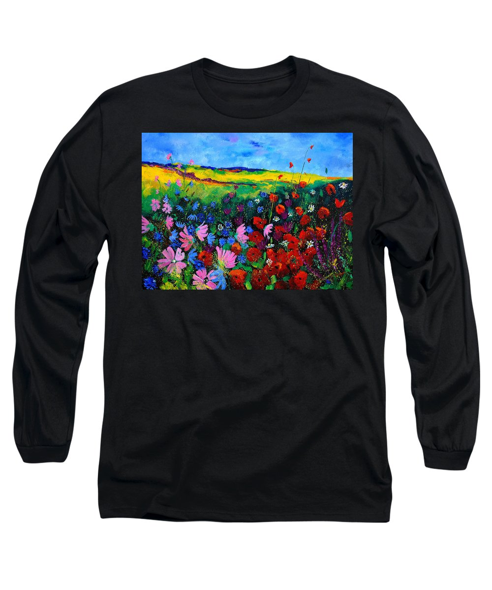 Poppies Long Sleeve T-Shirt featuring the painting Field Flowers by Pol Ledent