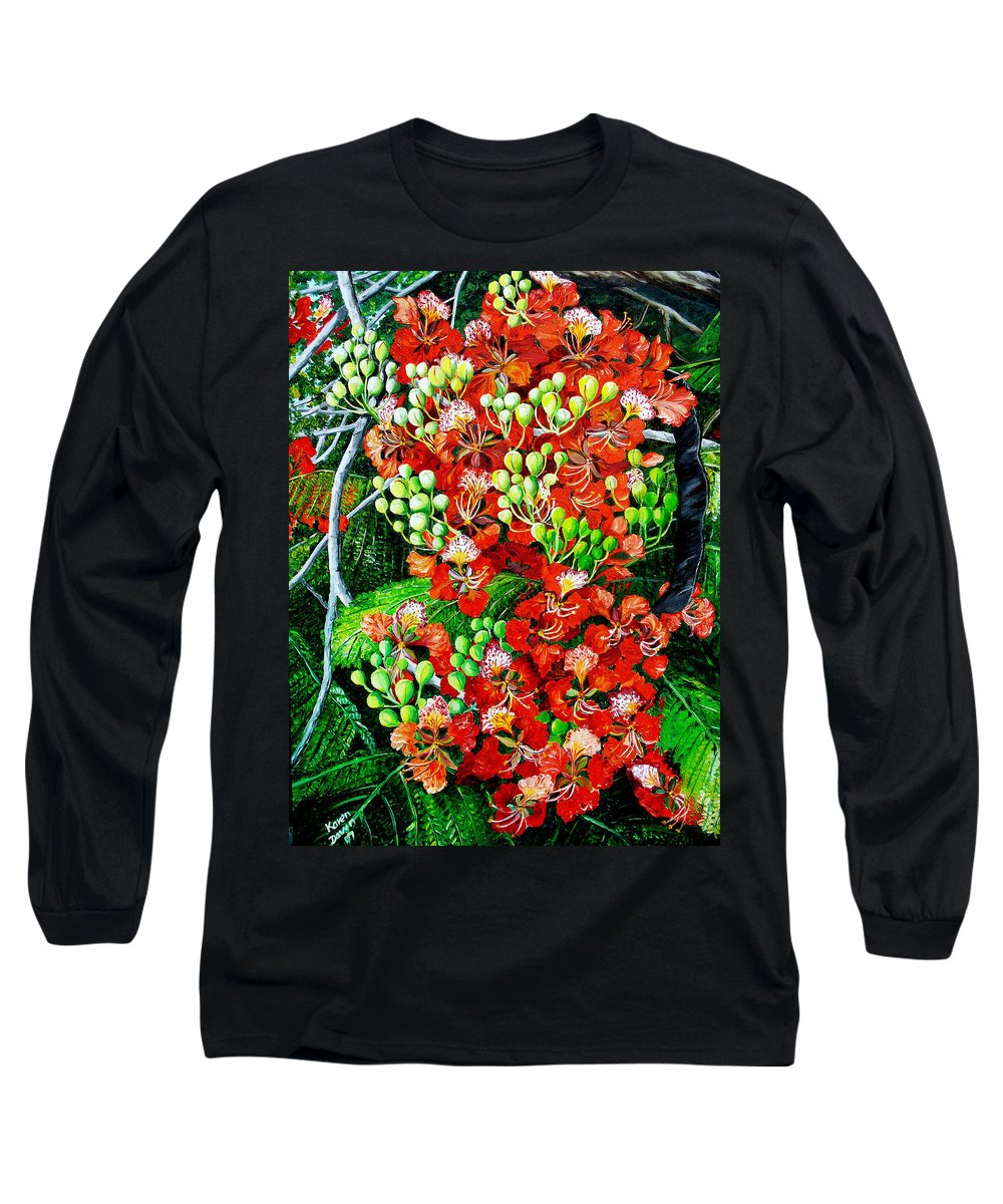 Royal Poincianna Painting Flamboyant Painting Tree Painting Botanical Tree Painting Flower Painting Floral Painting Bloom Flower Red Tree Tropical Paintinggreeting Card Painting Long Sleeve T-Shirt featuring the painting Flamboyant In Bloom by Karin Dawn Kelshall- Best