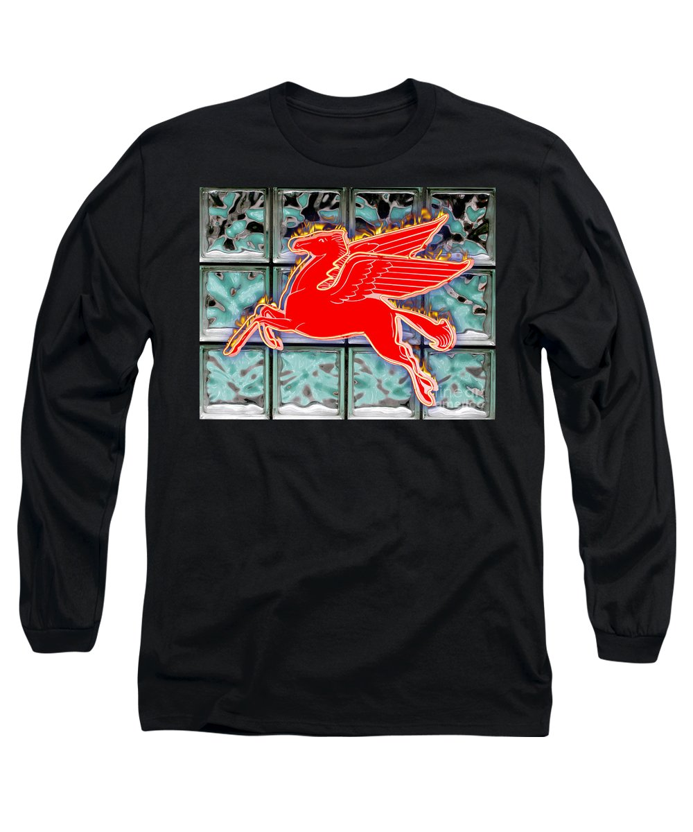 Red Long Sleeve T-Shirt featuring the digital art Flying Fire Horse by Keith Dillon
