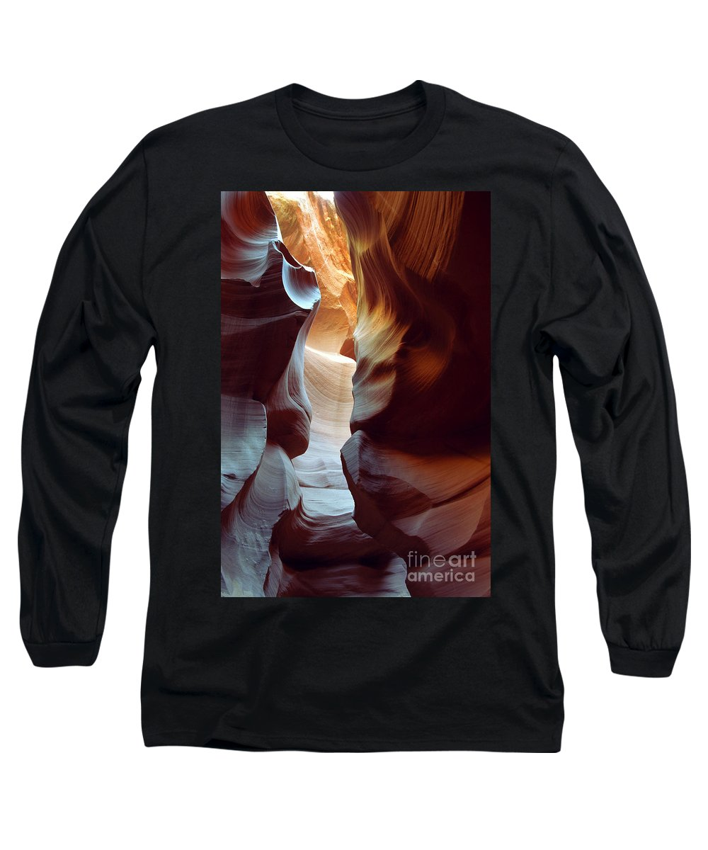 Slot Canyon Long Sleeve T-Shirt featuring the photograph Follow The Light II by Kathy McClure