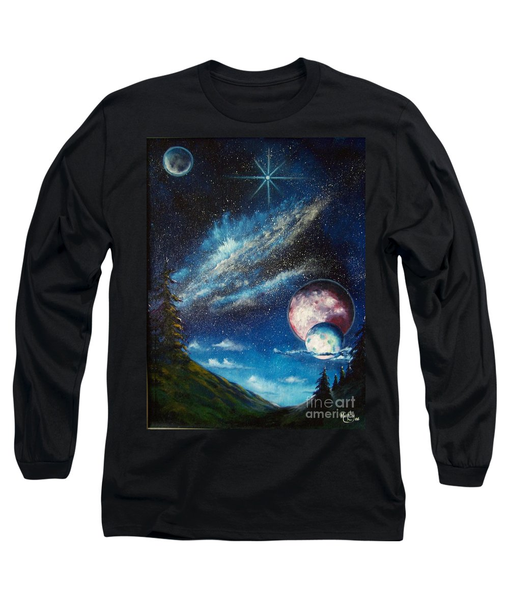 Space Horizon Long Sleeve T-Shirt featuring the painting Galatic Horizon by Murphy Elliott